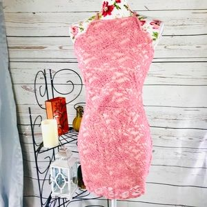 Boohoo 10 light pink lace Bodycon stretchy dress